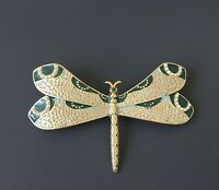 Unique vintage style dragonfly brooch enamel on gold tone metal