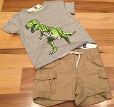 Baby Gap Boys 6-12 Months Outfit. Dinosaur Shirt & Tan Brown Shorts. Nwt