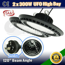 2x 300W HIGH LOW BAY LED WORK LIGHT UFO WAREHOUSE FACTORY COMMERCIAL INDUSTRIAL