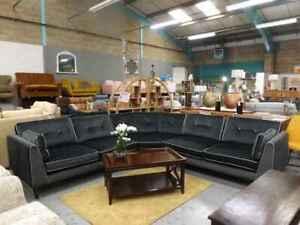 Cricket dark grey fabric corner sofa ex photoshoot