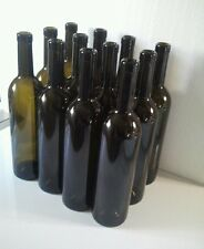 24 EMPTY WINE BOTTLES BORDEAUX  STYLE DARK OLIVE COLOR FOR CORK USE 750 ml