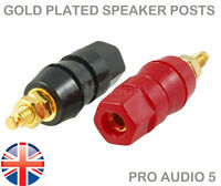 4x Large Gold Speaker Binding Posts Terminal 4mm Banana Plugs or Bare Wire 2Pair