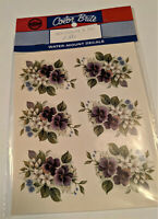 vintage Color Brite Water-Mount Slide Ceramic Decals Purple Pansy Flower Violets