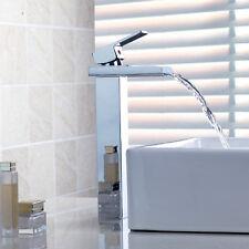 Tall New Waterfall Bathroom Basin Sink Chrome Brass Mixer Taps Faucet S623GH4