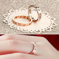Roman Numeral Hollow 18K Gold Crystal Women Wedding Ring Couples Ring