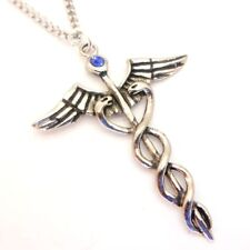 Blue Crystal Caduceus Snake Healing Amulet Pendant Necklace Egyptian Atum Ra