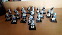 21Pcs Minifigures Star Wars Blue Clone Trooper Clone Army Trooper Lego MOC