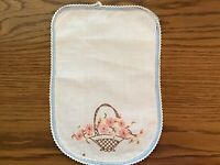 """Vintage Arm Chair Cover Hand Embroidered 12"""" X 8"""""""