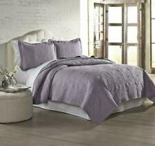 Amrapur Overseas 3-Piece Solid Embroidered Quilted Coverlet Set, King, Lavender