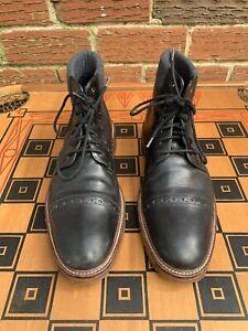 J&M 1850 Men 9.5 M US Cap Toe Oxfords Boots Black Leather Lace Up 20-2925