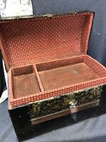 Antique Victorian Child Doll Camel Top Steamer Trunk w/Tray Wood & Metal Straps