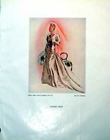 Old Vintage Print Wedding Gown Beautiful Lady Me Buckley Veil Chair 1946 20th