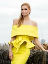 OFF THE SHOULDER PEPLUM SCUBA TOP and skirt in yellow