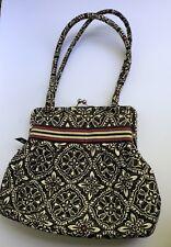 Retired Barcelona Vera Bradly Clutch Clasp Purse Shoulder Bag Satchel Black Wht