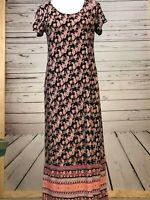 J. Jill Maxi Dress Short Sleeve Side Pockets Rayon Paisley Bandana Women's XS