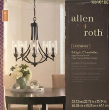 Allen + Roth Latchbury 5-Light Aged Bronze Transitional Textured Glass Shaded