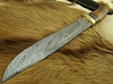 "MASSIVE 13"" HANDMADE DAMASCUS STEEL HUNTING BOWIE KNIFE W/SHEATH 4505-12"
