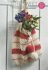 KNITTING PATTERN Ladies Lace + Striped Shopper Bag Pom Pom Shoulder Cygnet DK