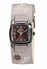 Kahuna Women's Quartz Watch with Brown Dial Analogue Display and Grey PU Cuff St
