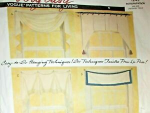 Vogue Sewing Pattern 1247 For Living Very Easy Window Treatments Uncut Valance