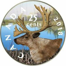 2018 Canadian legal Tender 25 Cents Coloured Caribou Coin