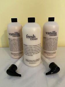 New Set Of 3 Philosophy Shower Gel 32 Ounce Each Fresh Cream 2 Vanilla Coconut