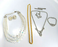 Vtg Lot of Necklace, Earring and Bracelet Sets Rhinestone Crystal Faux Pearls
