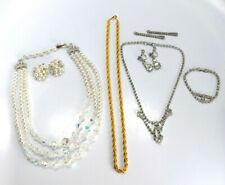 Bracelet Sets Rhinestone Crystal Faux Pearls Vtg Lot of Necklace, Earring and