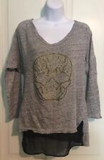 Zara W&B Collection Women's Size Medium Gray Sweater Skull *NEW W/out Tags