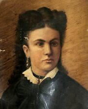 Tableau ancien, Huile sur toile à restaurer, Portrait de jeune femme, XIXe