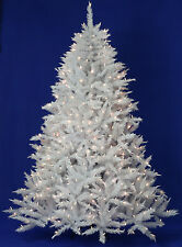 9' White Alpine Spruce Artificial Christmas Tree with Clear LED Lights