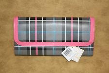 Baekgaard Purse Oversized Clutch Mod Plaid Pink Trim NWT Grey Blue Black White