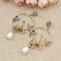 Vintage Leaves Flower Birds Earrings Gold Statement Pearl Floral Studs Jewelry
