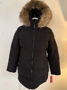 NWT Vince Camuto Women's Faux-Fur-Trim Hooded Parka Coat Large Black