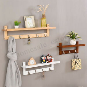Floating Shelf Wall Display Bookshelf Storage With 5 Hat Coat Hook Door   L0