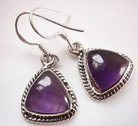 Amethyst Triangles 925 Sterling Silver Dangle Earrings w/ Rope Style Accents
