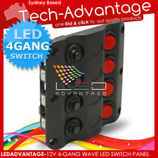 12V 4 GANG LOW PROFILE WAVE BOAT/CARAVAN ON/OFF CIRCUIT BREAKERS SWITCH PANEL