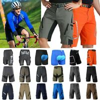 Men's Cycling Shorts Mountain Bike MTB Bicycle Shorts Zip Padded Riding Pants US