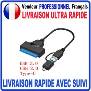 Adaptateur SATA 2.5 vers USB 3.0 + USB TYPE C câble HDD/SSD