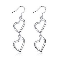 """Sterling Silver Plated Earrings Drop Dangle Fish Hook Heart .6"""" L423"""