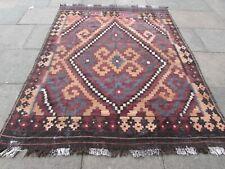Vintage Kilim Traditional Hand Made Oriental Brown Wool Large Kilim 252x193cm