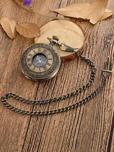 Vintage Pocket Watch Quartz Pendant & Chain Classic Bronze Fob Watches Men Women