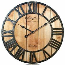 Vintage Wall Clock Wooden Frame Large Roman Numeral Rustic Wooden