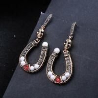 Boucles d'oreilles Doré Art Deco Fer à cheval Tete de Mort Gris Rouge Perle AA33
