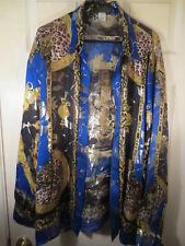 VINTAGE MENS METALLIC SATIN SILK SHIRT LEOPARD PRINT BLACK & BLUE & GOLD XL  2XL