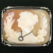 Vintage Einzigartig 14k Weiss Gold .12ct Diamant geschnitzter Muschel