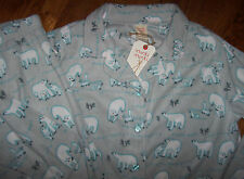 NWT Munki Munki Gray/Aqua SOFT FLEECE Pajama Shirt/Pants Set POLAR BEARS/FOX XL