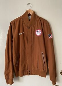 Nike NSW 2012 Official USA Olympic Team Full Zip Canvas Bomber Jacket Size M