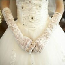 Wedding Bride Bridesmaid Full Finger Gloves Lace Long Gloves for Pageant Prom