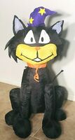 Gemmy Airblown Inflatable Halloween Black Cat Witch 4ft Tall Tested & Works EUC
